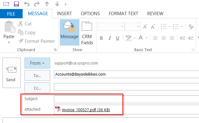 Customizing Email Subject Line And File Name When Sending SRS Documents - Invoice email format